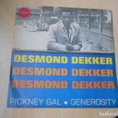 Discos de vinilo: DESMOND DEKKER, SG, PICKNEY GAL + 1, AÑO 1969. Lote 278338893