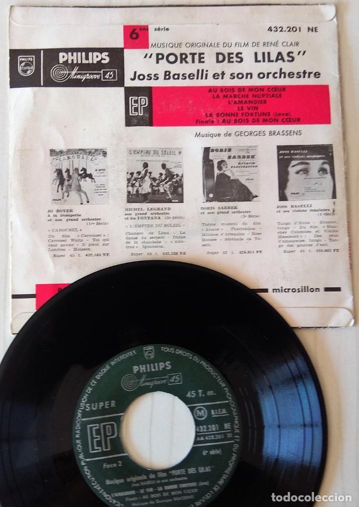Discos de vinilo: JOSS BASELLI - PORTE DE LILAS PHILIPS - 1957 - Foto 2 - 278344118