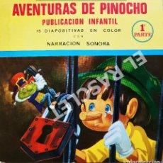 Discos de vinilo: AVENTURAS DE PINOICHO - 1ª PARTE - ANTIGÜA PUBLICACION INFANTIL SONORA + 15 DIAPOSITIVAS EN COLOR. Lote 278369623