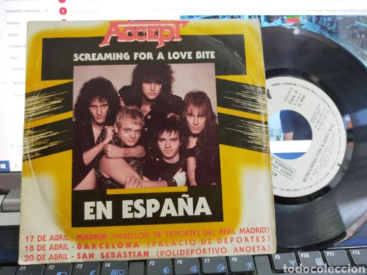 ACCEPT SINGLE PROMOCIONAL SCREAMING FOR A LOVE BITE ESPAÑA 1985 RAREZA (Música - Discos - Singles Vinilo - Heavy - Metal)