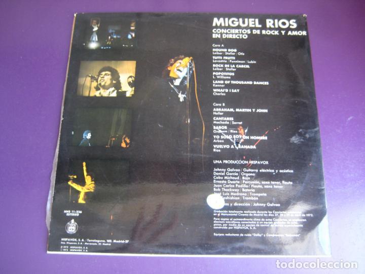 Discos de vinilo: Miguel Ríos – Conciertos De Rock Y Amor En Directo - LP HISPAVOX 1972 - EDICION ORIGINAL SIN APENAS - Foto 2 - 278414778