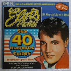 Discos de vinilo: DOBLE LP VINILO ELVIS PRESLEY EL REY DEL ROCK'N'ROLL, SUS 40 MAYORES EXITOS. Lote 278416843