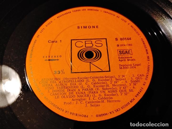 Discos de vinilo: SIMONE (LUIS GÓMEZ ESCOLAR). CBS. SPAIN 1974 LP + DOBLE CUBIERTA (JUAN CARLOS CALDERON) CANTAUTORR - Foto 4 - 278426703