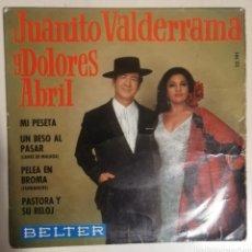 Discos de vinilo: VALDERRAMA Y DOLORES ABRIL - MI PESETA. Lote 278428158