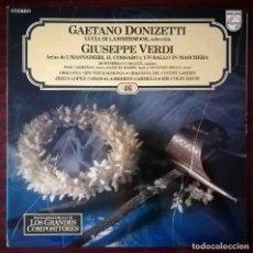 Discos de vinilo: SALVAT LOS GRANDES COMPOSITORES 46. GAETANO DONIZETTI (LUCIA DI LAMMERMOOR) GIUSEPPE VERDI (ARIAS). Lote 278434548
