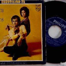 Discos de vinilo: SANDRA Y ANDRES. WHAT DO I DO?. EUROVISION 1972. SINGLE ESPAÑA. Lote 278502628