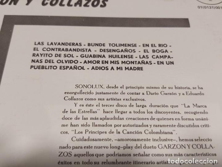 Discos de vinilo: GARZÓN Y COLLAZOS / BUNDE TOLIMENSE / LP - SONOLUX-COLOMBIA / MBC. ***/*** - Foto 3 - 278515018