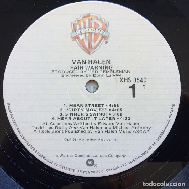 Discos de vinilo: Van Halen – Fair Warning Canada1981 Warner Bros Records - Foto 5 - 278565158