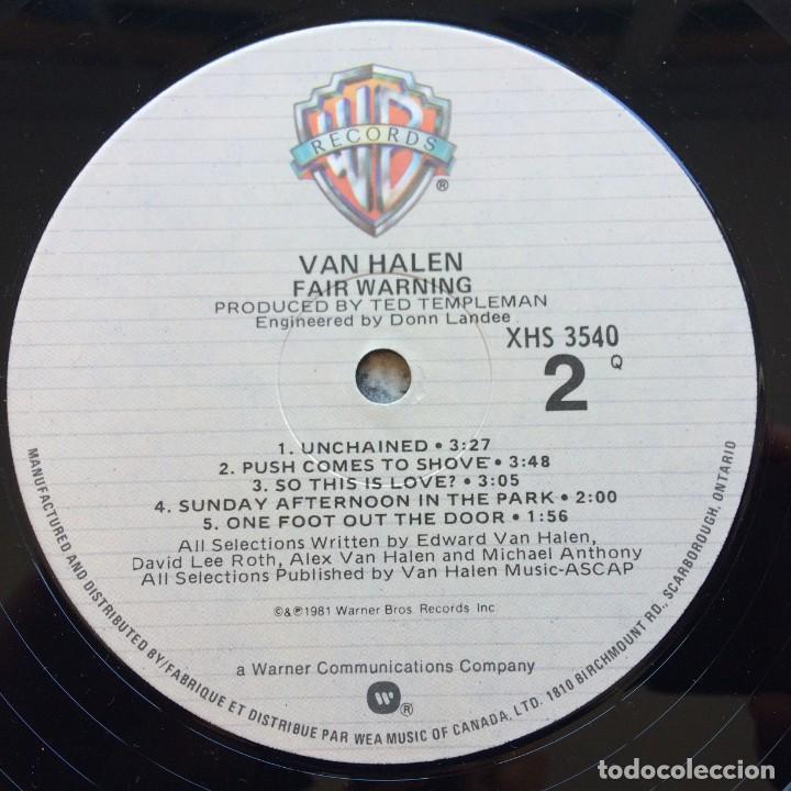 Discos de vinilo: Van Halen – Fair Warning Canada1981 Warner Bros Records - Foto 6 - 278565158