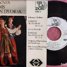 "Discos de vinilo: 7"" JOHANNES BRAMS / ANTON DVORAK - DANZAS HÚNGARAS - 10006C - SPAIN PRESS (EX++/EX++). Lote 278570318"