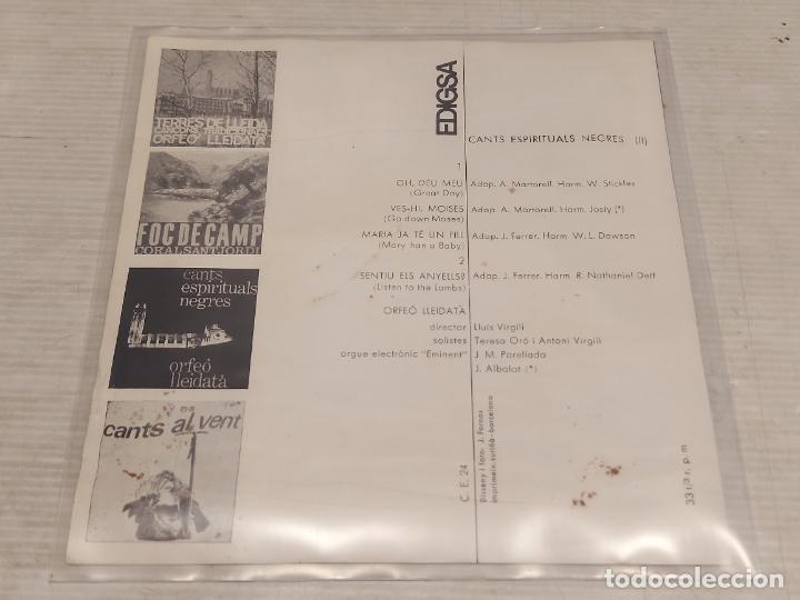 Discos de vinilo: ORFEÓ LLEIDATÀ / CANTS ESPIRITUALS NEGRES (II) / EP-EDIGSA 33R.P.M.-1965 / MBC. ***/*** - Foto 2 - 278692263