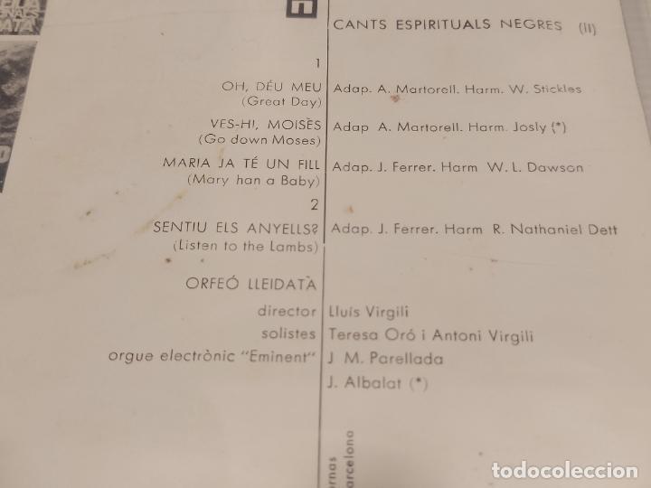 Discos de vinilo: ORFEÓ LLEIDATÀ / CANTS ESPIRITUALS NEGRES (II) / EP-EDIGSA 33R.P.M.-1965 / MBC. ***/*** - Foto 3 - 278692263