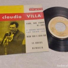 Discos de vinilo: CLAUDIO VILLA / FESTIVAL SAN REMO 1963 / EP - VERGARA / MBC. ***/***. Lote 278756663
