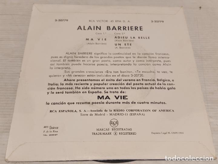 Discos de vinilo: ALAIN BARRIERE / MA VIE / EP - RCA-VICTOR-1964 / MBC. ***/*** - Foto 2 - 278762883
