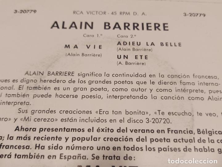 Discos de vinilo: ALAIN BARRIERE / MA VIE / EP - RCA-VICTOR-1964 / MBC. ***/*** - Foto 3 - 278762883