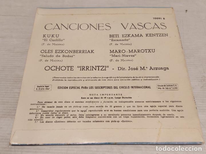 Discos de vinilo: CANCIONES VASCAS / KUKU + 3 / EP - ORLADOR-1967 / MBC. ***/*** - Foto 2 - 278763068