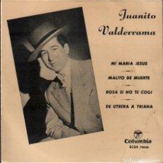 Discos de vinilo: JUANITO VALDERRAMA - MI MARIA JESUS, MALITO DE MUERTE, DE UTRERA A TRIANA.../ EP COLUMBIA RF-4942. Lote 278796603