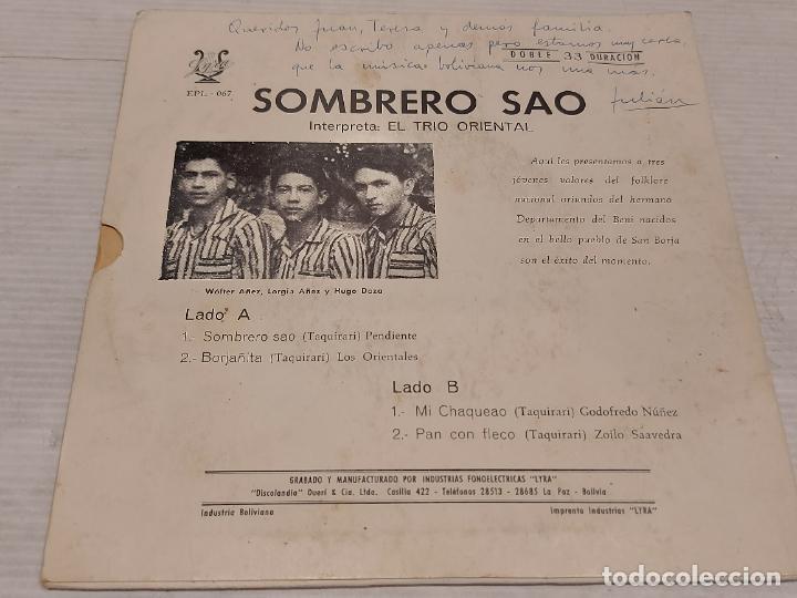 Discos de vinilo: EL TRIO ORIENTAL / SOMBRERO SAO / EP-33 R.P.M. - LYRA-BOLIVIA / HIPER RARO / PEQUEÑAS MARCAS.***/** - Foto 2 - 278965498