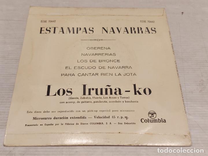 Discos de vinilo: LOS IRUÑA-KO / ESTAMPAS NAVARRAS / EP - COLUMBIA-1962 / MBC. ***/*** - Foto 2 - 278968268