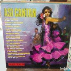 Discos de vinilo: ASÍ CANTAN - LOLA FLORES, MANOL ESCOBAR, JUANITA REINA, PAQUITA RICO, ... - LP. SELLO BELTER 1967. Lote 279406428