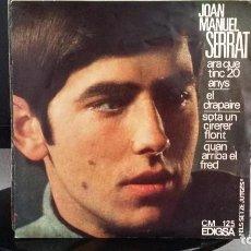 Discos de vinilo: *JOAN MANUEL SERRAT - ARA QUE TINC 20 ANYS + 3 - EP AÑO 1966 - LEER DESCRIPCIÓN. Lote 279444748