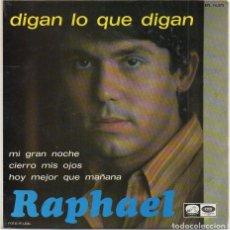 Discos de vinilo: RAPHAEL - DIGA LO QUE DIGAN, MI GRAN NOCHE, CIERRO MIS OJOS.../ EP EMI DE 1967 RF-4973. Lote 279456903