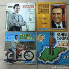 """Discos de vinilo: 4 VINILOS DE 7"""". MANOLO ESCOBAR (SEVILLANAS,,JUICIO DE FALDAS,,MI CARRO, Y VIVA ESPAÑA). Lote 279471783"""
