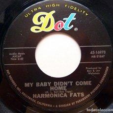Discos de vinilo: HARMONICA FATS: MY BABY DIDN´T COME HOME + 1 - SINGLE - 1966 - DOT RECORDS (USA) - MUY BUENO (VG+). Lote 279483213