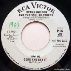 Discos de vinilo: BENNY GORDON & THE SOUL BROTHERS: COME AND GET IT + 1 -SINGLE PROMO-1966-RCA VICTOR (USA)-NUEVO (NM). Lote 280127158