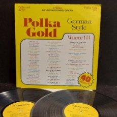 Discos de vinilo: POLKA GOLD - GERMAN STYLE / VARIOS GRUPOS O ARTISTAS / DOBLE LP - POLKA CITY / MBC. ***/***. Lote 280282993