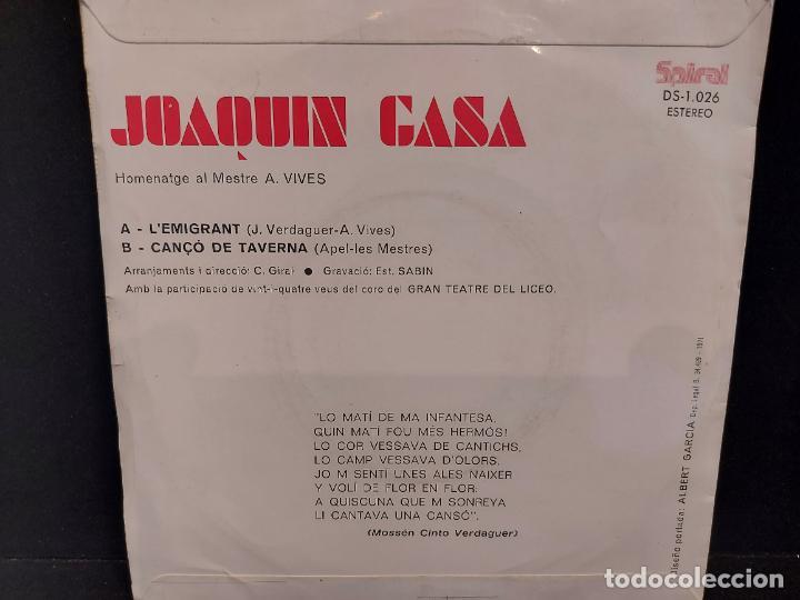 Discos de vinilo: JOAQUIN GASA / LEMIGRANT-CANÇÓ DE TAVERNA / SINGLE-SPIRAL-1971 / MBC. ***/*** - Foto 2 - 280395298