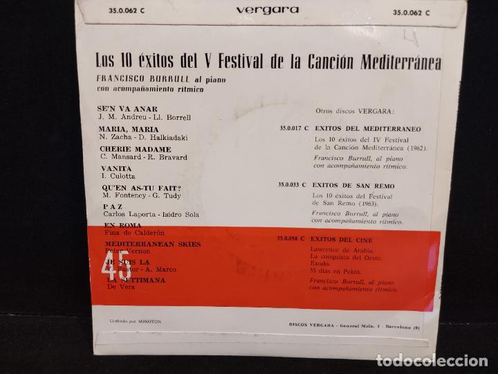 Discos de vinilo: LOS 10 ÉXITOS DEL FESTIVAL DE LA CANCIÓN MEDITERRÁNEA / EP-VERGARA-1963 / MBC. ***/*** - Foto 2 - 280400123