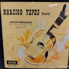 Discos de vinilo: NARCISO YEPES / JUEGOS PROHIBIDOS / EP- DECCA-1963 / MBC. ***/***. Lote 280401913