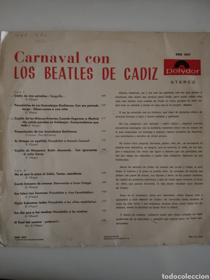 Discos de vinilo: CARNAVAL CON LOS BEATLES DE CÁDIZ - Foto 2 - 280820353