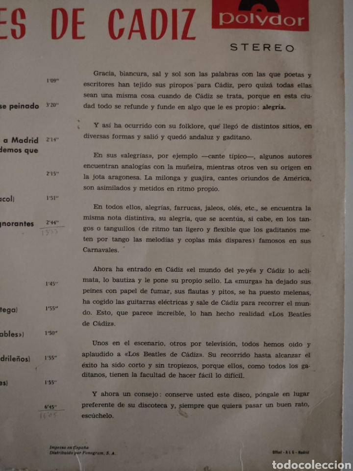 Discos de vinilo: CARNAVAL CON LOS BEATLES DE CÁDIZ - Foto 5 - 280820353