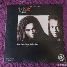 Discos de vinilo: MILLI VANILLI – BABY DON'T FORGET MY NUMBER ,VINYL MAXI-SINGLE 1988 SPAIN 611841. Lote 280987778