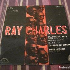 Discos de vinilo: EP RAY CHARLES MARCHATE JACK HIT THE ROAD JACK HISPAVOX SOLO PORTADA SIN DISCO. Lote 282185563