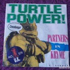 "Discos de vinilo: PARTNERS IN KRYME – TURTLE POWER ,VINYL 7"", SINGLE 1990 ITALY 06 2039337. Lote 282213063"