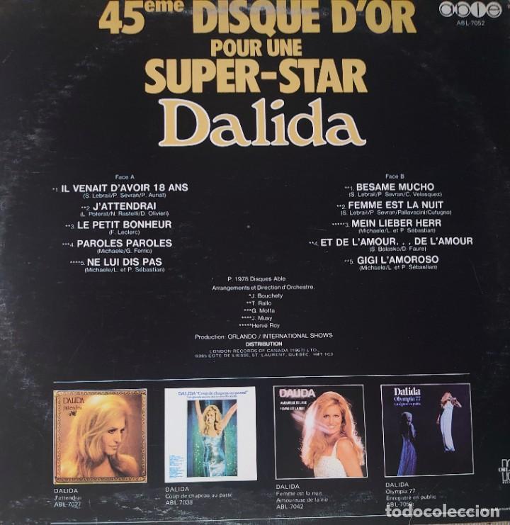Discos de vinilo: Dalida Maxi-single sello Able editado en Canadá año 1978... - Foto 2 - 282269718