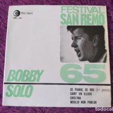 "Discos de vinilo: BOBBY SOLO – FESTIVAL SAN REMO 65, VINYL 7"" EP 1965 SPAIN 281 - XC. Lote 283066038"