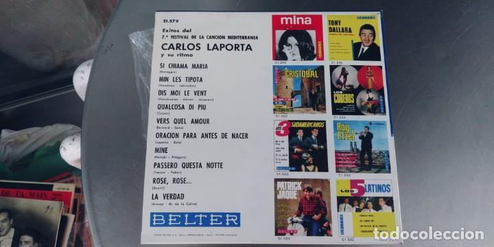 Discos de vinilo: CARLOS LAPOTA-EP EXITOS DEL 7ª FESTIVAL DE LA CANCION MEDITERRANEA - Foto 2 - 283181428