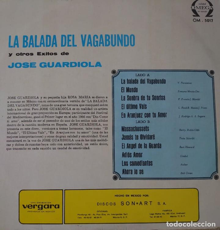 Discos de vinilo: José Guardiola Lp sello Omega editado en México - Foto 2 - 283238803