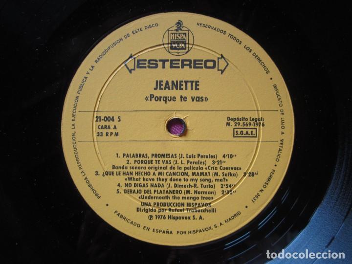 Discos de vinilo: JEANETTE - CANTA PORQUE TE VAS + 9 EXITOS LP L23 - Foto 3 - 283767543