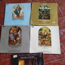 Discos de vinil: 5 DISCOS CANTOS GREGORIANOS. Lote 284131783