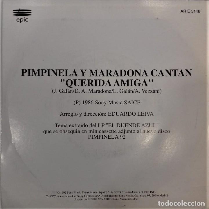 Discos de vinilo: MARADONA CANTA CON PIMPINELA- QUERIDA AMIGA- SG. PROMO- ED. ESPAÑOLA- 1992 - Foto 2 - 284182498