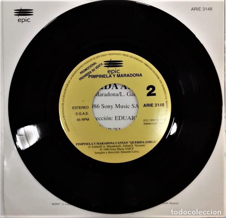 Discos de vinilo: MARADONA CANTA CON PIMPINELA- QUERIDA AMIGA- SG. PROMO- ED. ESPAÑOLA- 1992 - Foto 4 - 284182498