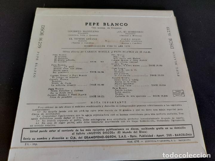 Discos de vinilo: PEPE BLANCO / COCIDITO MADRILEÑO + 3 / EP - ODEON-1959 / MBC. ***/*** - Foto 2 - 284267423