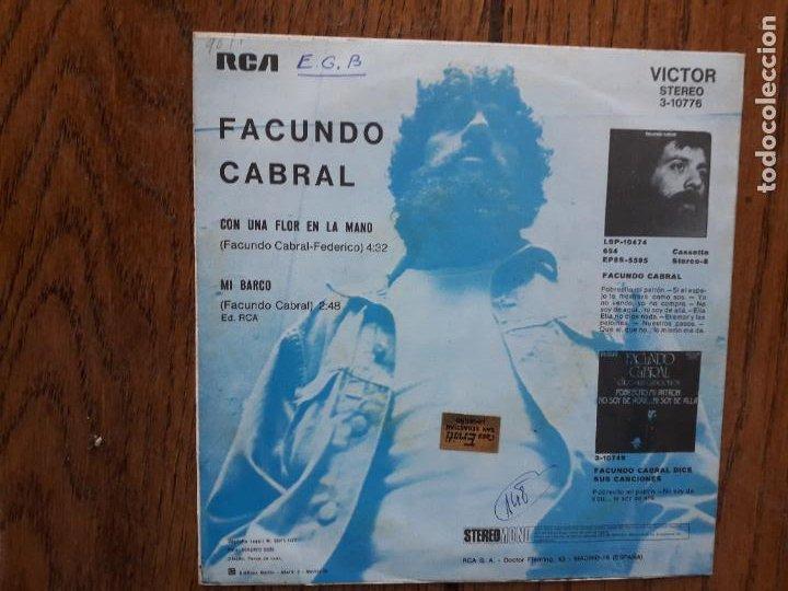 Discos de vinilo: Facundo cabral - con una flor en la mano + mi barco - Foto 2 - 284841543