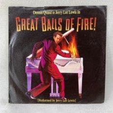 Discos de vinilo: SINGLE JERRY LEE LEWIS - GREAT BALLS OF FIRE / BREATHLESS - ESPAÑA - AÑO 1989. Lote 285061483