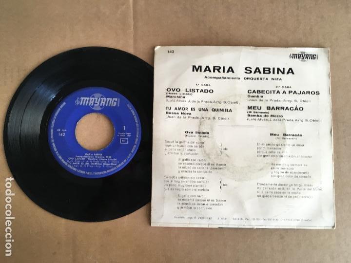 Discos de vinilo: maria sabina ovo listado bossa nova ep vinilo original español 1967 perfecto estado sin uso - Foto 2 - 285398123